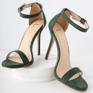 LULUS - ELSI FOREST GREEN SUEDE SINGLE STRAP HEELS